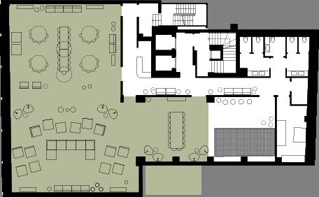 Floorplan Image: Living room + Library + Dining room adjoined